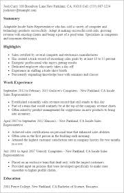 Resume Templates: Inside Sales Representative