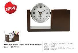 page 52 wooden desk clock with pen holder bg 0045