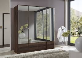 mirror wardrobe. slumberhaus \u0027imago\u0027 german made modern walnut \u0026 mirror 4 door 180cm wardrobe furniture for the home