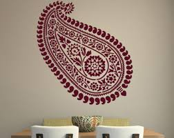 more colors paisley wall sticker pattern  on paisley wall art stencil with paisley wall decal etsy
