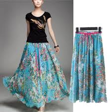 Long Skirt Patterns Inspiration 48 Bohemian Skirts Floral Patterns Chiffon Maxi Beach Long Women