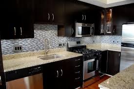 Glass Tile Backsplash Ideas With Dark Cabinets kitchen tile