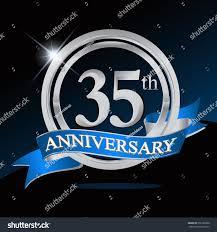 Blue Ribbon Template 35th Anniversary Logo Blue Ribbon Silver Stock Vector Royalty Free