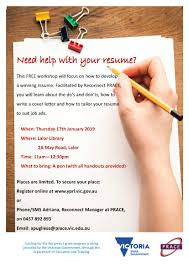 Resume Writing Workshop 2019 Banyule Youth Services