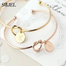 SMJEL <b>Personalized Knot Initial Bracelets</b> Bangles A Z 26 Letters ...