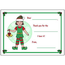 Blank Thank You Notes Elf Christmas Fill In The Blank Thank You Notes Girl