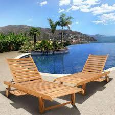 cairo teak patio chaise loungers 2 set