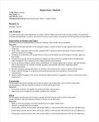 Descriptions For Resumes Resume Job Descriptions Cashiers Job ...