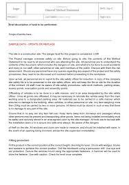 Method Of Statement Sample Fascinating General Method Statement