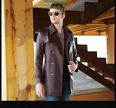 image result for faux leather trench for men