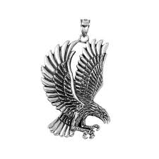 flying eagle pendant in sterling silver