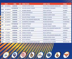 Ipl Cricket 2019 Schedule Gcc Exchange