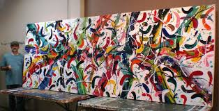 examples and art ideas of large abstract artworks, CARNIVALE This extra large  canvas abstract artwork ...