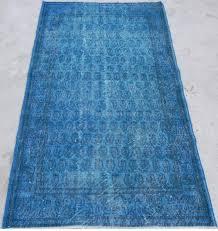 3 9x6 7 ft 115x200 cm royal blue color overdyed vintage turkish rug
