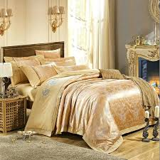 luxury jacquard tribute silk duvet cover king queen 4pcs embroidered satin bed sheet cotton bedclothes bedding