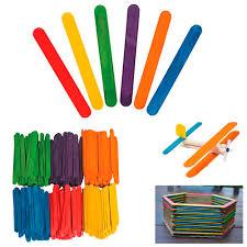 <b>100 pcs</b> New <b>Colored</b> Natural <b>Wood</b> Popsicle Sticks <b>Wooden</b> Craft ...