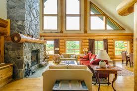 Mountain Cabin Decor Interior Logde Decor Wood Floor Log Wall Rock Wall Range Hood