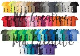 Gildan Color Chart 5000 Every Color Digital File Shirt Color Chart Gildan 5000