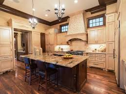 french country kitchen cabinets glossy concrete floor modern light glass chandelier white ceramic floor stainless steel