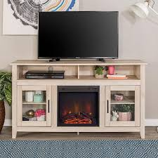 modern farmhouse tall fireplace tv stand white oak