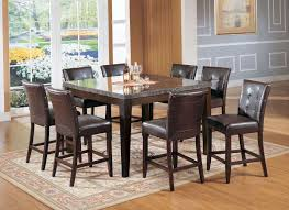 acme danville 7 pc marble top square counter height dining table set in espresso