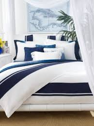 coast and beach inspired bedding set with large navy and indigo stripes