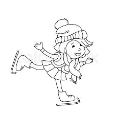 outline cartoon character for coloring book greeting card and winter design stock vector colourbox