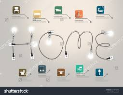 creative furniture icons set flat design. home text concept with creative light bulb ideas furniture flat icons set abstract info design w