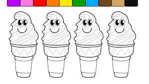 Small Picture Learn Colors for Kids and Color with Smiley Face Ice Cream Cones
