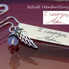 actual handwriting handwriting jewelry personalized jewelry sterling silver necklace end charm in memory of memorial gift