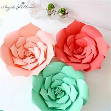 Red Paper Flower Diy Craft 20cm Paper Roses Birthday Party Wedding Paper Flower Wall Window Decoration Event Supplies Stage Background Layout