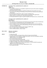Construction Administrative Assistant Resume Samples Velvet Jobs