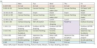 Summer Camp Weekly Schedule Enroll Now Summer Art Camp 2018 Signup For 3 Or More Weeks Get