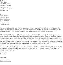 Executive Assistant Cover Letter Examples Secretary Cover Letter Example Sample Senior Executive Assistant