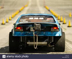 japanese drag racing car with rear parachute for breaking and