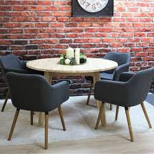 tilbury 4 person untreated solid oak round dining table 4 dawson dining chairs fabric dark