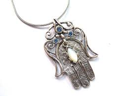 silver shablool hamsa necklace with mother of pearl and 3 blue stones israel catalog com