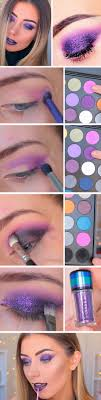 purple smokey glitter awesome prom makeup ideas for blue eyes diy new years eve