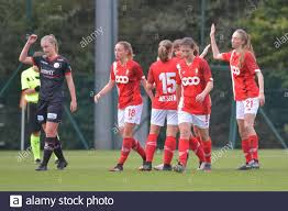 Angleur, Belgium. 17th Oct, 2020. Standard celebrating the second goal  during a female soccer game between