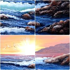 hand painted oil paintings canvas painting sea waves ocean blue water sun the sun rises wall pictures for living room in painting calligraphy from home