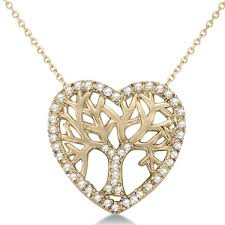 diamond heart family tree of life pendant necklace 14k yellow gold 0 05ct