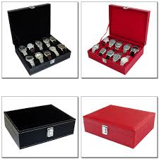 mens watch storage box mens black or red faux leather 10 compartment watch storage box organiser case