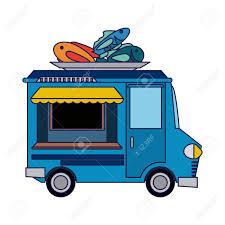Food Truck Seafood Restaurant Vector ...