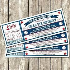 Baseball Ticket Birthday Invitations Sports Ticket Invitations