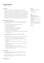 Example Of Construction Resume Construction Manager Resume Templates 2019 Free Download
