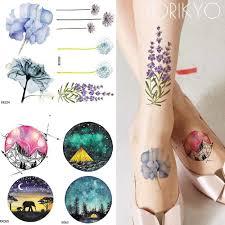 Iorikyo акварель цветок временная татуировка женщины рука цветок