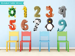 animal numbers fabric wall decals set
