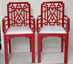 red lacquered furniture. Pair Of Red Lacquered Chippendale Style Chairs In Excellent Condition For Sale Stamford, CT Furniture D