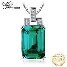 <b>Jpalace</b> 6ct <b>Simulated Nano</b> Emerald Pendant Necklace 925 ...
