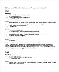Diabetic Meal Plan Free 10 Diet Plan Templates Free Sample Example Format